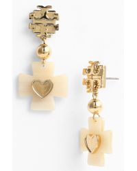 Tory Burch | White Tilsim Clover Heart Drop Earrings | Lyst