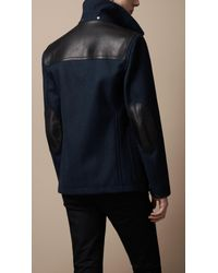 Burberry Brit   Blue Leather Detail Wool Blend Coat for Men   Lyst
