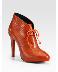 Rebecca Minkoff - Orange Dameon Laceup Lizardprint Leather Ankle Boots - Lyst