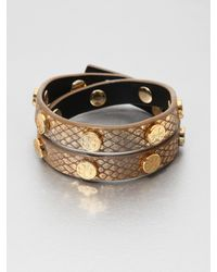 Tory Burch | Metallic Python Embossed Leather Wrap Bracelet | Lyst