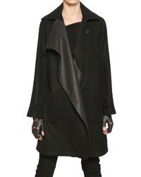 Karl Lagerfeld - Black Leather Wool Cloth Coat - Lyst