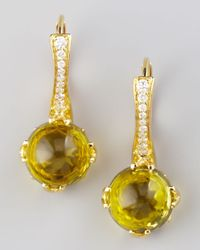 Frederic Sage | Metallic Jelly Bean Citrine Diamond Drop Earrings | Lyst