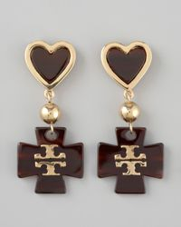 Tory Burch | Brown Heart Logo Drop Earrings | Lyst