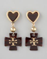 Tory Burch - Brown Heart Logo Drop Earrings - Lyst