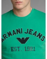 Armani Jeans - Green Classic Logo Tshirt for Men - Lyst
