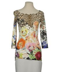 Just Cavalli | Multicolor T-shirt Mezza Manica Girocollo Over Stampa Gemme | Lyst