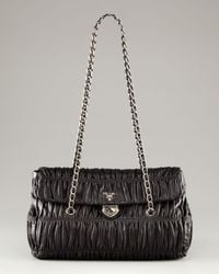 Prada | Black Medium Flap Ruched Leather Shoulder Bag | Lyst