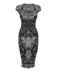 Alexander McQueen | Black Victorian Puckering Lace Jacquard Capsleeve Pencil Dress | Lyst