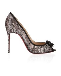 Christian Louboutin | Black Milady 100 Chantilly Lace And Satin Peep-Toe Pumps | Lyst
