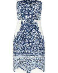 J.Crew - Blue Ella Strapless Printed Cottonblend Piqué Dress - Lyst