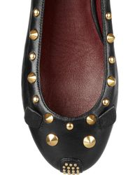 Marc By Marc Jacobs | Black Studded Leather Mouse Ballerina Flats | Lyst