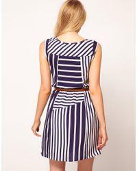 Oasis   Blue Stripe Belted Tunic Dress   Lyst