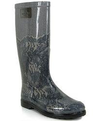 Valentino | Gray Lace Print Rain Boot | Lyst