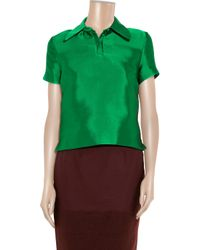 Jonathan Saunders | Green Dury Color-block Blouse | Lyst