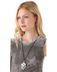 Noir Jewelry - White Nightfall Pendant Necklace - Lyst