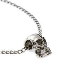 ASOS - Metallic Skull Fine Chain Bracelet - Lyst