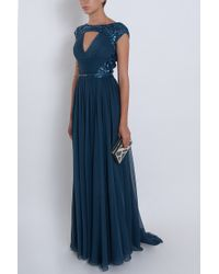 Elie Saab - Blue Chiffon Beaded Cap Sleeve Gown - Lyst