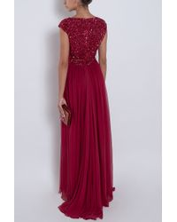 Elie Saab | Red Chiffon Beaded Cap Sleeve Gown | Lyst