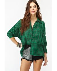 Nasty Gal - Green Teen Spirit Plaid Shirt - Lyst