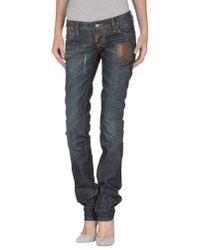 DSquared² - Blue Super Slim Lace Cotton Denim Jeans - Lyst