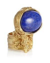 Saint Laurent | Blue Arty Goldplated Glass Ring | Lyst