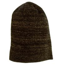 ASOS - Brown Metallic Boyfriend Knit Beanie - Lyst
