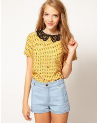 ASOS Collection | Yellow Asos Top With Daisy Print And Crochet Collar | Lyst