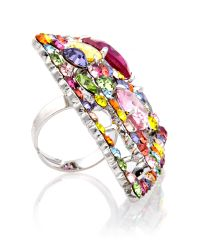 Gemini | Multicolor Multi Diamond Haute Couture Swarovski Ring | Lyst
