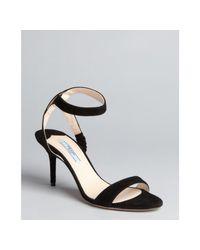 Prada | Black Suede Ankle Strap Sandals | Lyst