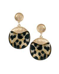 River Island - Metallic Leopard Round Dangle Earrings - Lyst