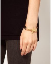 ASOS - Metallic Chunky Cross Torque Bracelet - Lyst