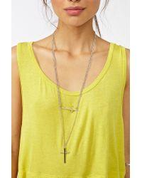 Nasty Gal - Metallic Double Cross Necklace - Lyst