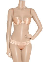 Rituel By Carine Gilson - Pink Stretch Silk-satin Molded Bra - Lyst