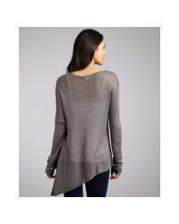 Helmut Lang - Gray Grey Loose Knit Silk Asymmetrical Sweater - Lyst