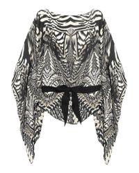 Roberto Cavalli | Gray Printed Silk Chiffon Top | Lyst