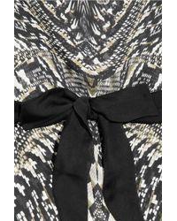 Roberto Cavalli   Gray Printed Silk Chiffon Top   Lyst