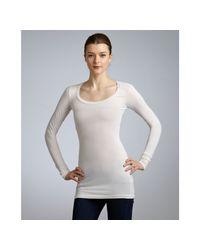 Splendid - White Ivory Stretch Cotton Scoop Neck Long Sleeve Tshirt - Lyst