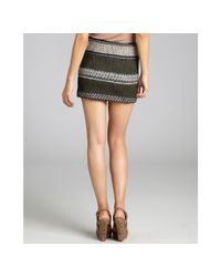 Edun | Gray Charcoal and Olive Wide Stripe Wool Blend Mini Skirt | Lyst