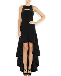 Michael Kors | Black Stretch Wool Crepe And Leather Harness Gown | Lyst
