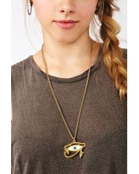 Nasty Gal - Metallic Evil Eye Necklace - Lyst