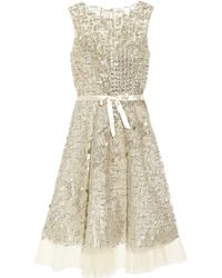 Oscar de la Renta | Metallic Embellished Tulle Dress | Lyst