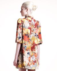 Dolce & Gabbana - Pink Floral And Bird Print Dress - Lyst