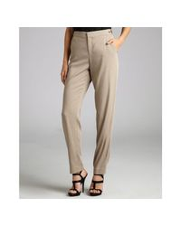 Helmut Lang | Natural Khaki Stretch Woven Cropped Trousers | Lyst