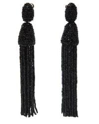 Oscar de la Renta | Black Long Beaded Tassel Clip-on Earrings | Lyst