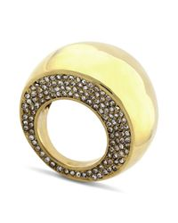 Vince Camuto - Metallic Gold Tone Pave Dome Cocktail Ring - Lyst