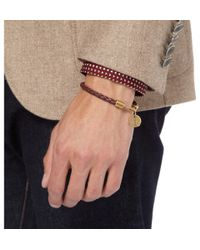 Saint Laurent - Brown Woven Leather Bracelet for Men - Lyst