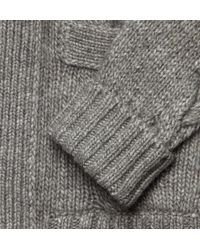 Saint Laurent - Gray Long Chunky Knit Wool Blend Cardigan for Men - Lyst