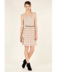 Oasis | Beige Spot Pleated Belted Dress | Lyst