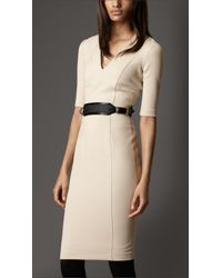 Burberry | Natural Crêpejersey Tailored Dress | Lyst