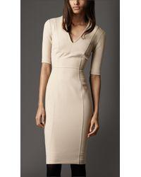 Burberry - Natural Crêpejersey Tailored Dress - Lyst